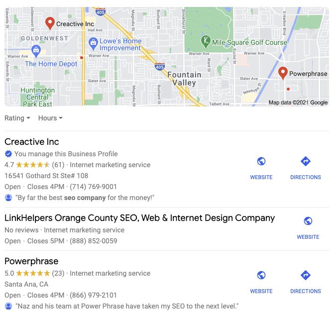 Google maps marketing snap shot